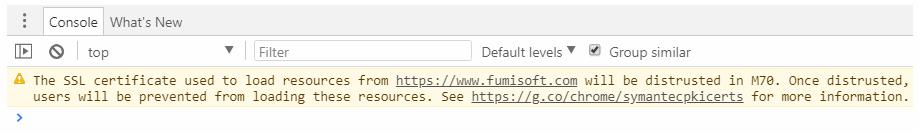 Chromeブラウザメニュー デベロッパーツールのコンソールに表示されていた内容